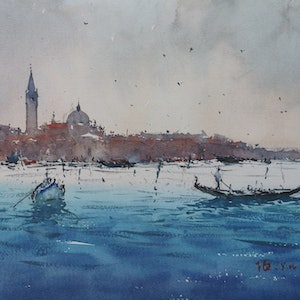 (CreativeWork) venice5 by jianqiang xu. watercolour. Shop online at Bluethumb.