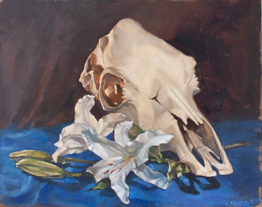 (CreativeWork) Lilies for the cow by Katia Strounina. Oil. Shop online at Bluethumb.