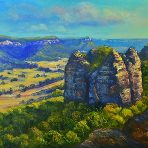 (CreativeWork) The View from Donkey Mountain, Blue Mountains - oil ready to hang by Christopher Vidal. oil-painting. Shop online at Bluethumb.