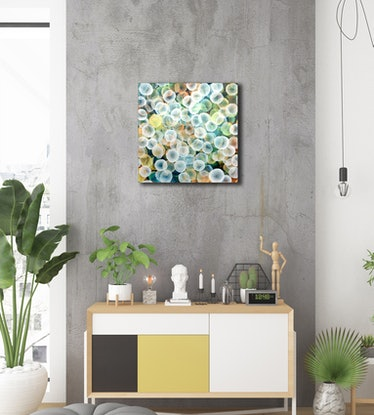(CreativeWork) Aqueous Life Field II - Original Abstract Painting by Jacquelyn Stephens. Mixed Media. Shop online at Bluethumb.