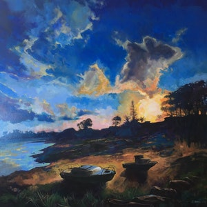 (CreativeWork) The Sailors View - Coochiemudlo Island to Redlands Bay, Queensland.  Huge original atmospheric painting. FREE NEXT DAY courier by Scott Neil. arcylic-painting. Shop online at Bluethumb.