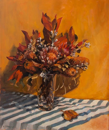 (CreativeWork) Dry flower arrangement by Katia Strounina. Oil Paint. Shop online at Bluethumb.