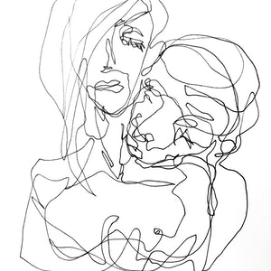 (CreativeWork) Don't Let Go - Couple - Original drawing  by Irma Calabrese. drawing. Shop online at Bluethumb.