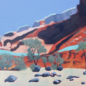 (CreativeWork) Capitol Reef National Park by Kathy Best. arcylic-painting. Shop online at Bluethumb.