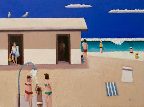 (CreativeWork) Quite Beach by Ross Bell. Oil Paint. Shop online at Bluethumb.