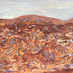 (CreativeWork) Pilbara Country, WA by Meg Vivers. arcylic-painting. Shop online at Bluethumb.