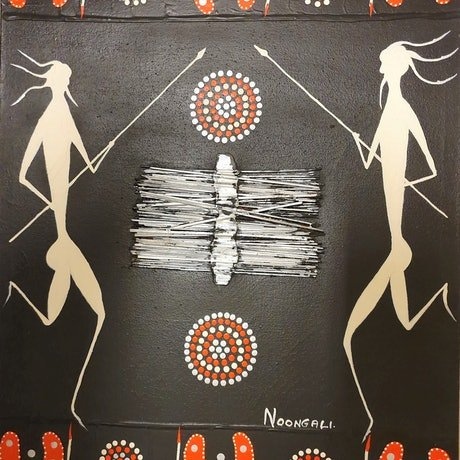 (CreativeWork) The Two Warriors by Dennis Noongali Kickett. Acrylic Paint. Shop online at Bluethumb.