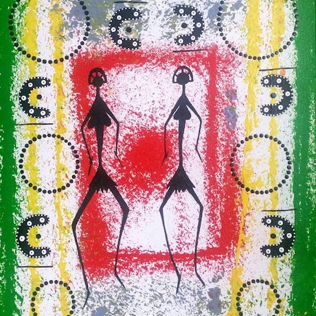 (CreativeWork) Hunters and Gatherers by Dennis Noongali Kickett. Acrylic Paint. Shop online at Bluethumb.