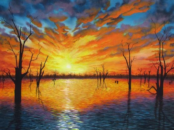 (CreativeWork) Sunset over Lake Victoria by Debra Dickson. Acrylic Paint. Shop online at Bluethumb.