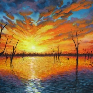 (CreativeWork) Sunset over Lake Victoria by Debra Dickson. arcylic-painting. Shop online at Bluethumb.