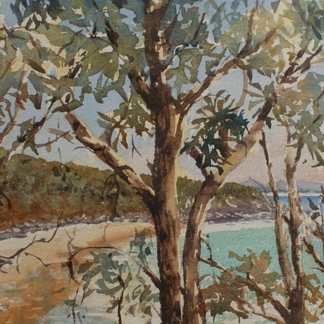 (CreativeWork) Granite Bay Noosa  by Ajay Lack. Watercolour Paint. Shop online at Bluethumb.