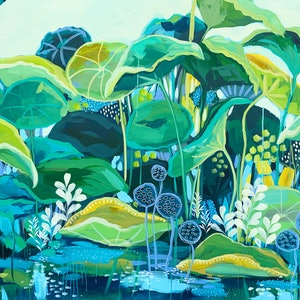 (CreativeWork) The Lotus Pond by Clair Bremner. arcylic-painting. Shop online at Bluethumb.