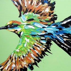 (CreativeWork) Rainbow Bee-eater by Lisa Fahey. #<Filter:0x0000557739c2e7e0>. Shop online at Bluethumb.