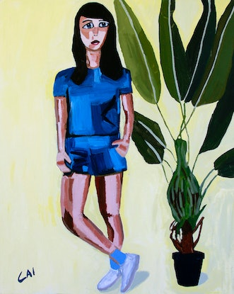 (CreativeWork) The girl with the blue jumpsuit by James Lai. Acrylic Paint. Shop online at Bluethumb.