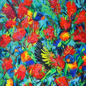 (CreativeWork) Lorikeets and Bottlebrush by Katerina Apale. arcylic-painting. Shop online at Bluethumb.