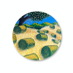 (CreativeWork) Hay Bales (2019) by Mike Adey. acrylic-painting. Shop online at Bluethumb.