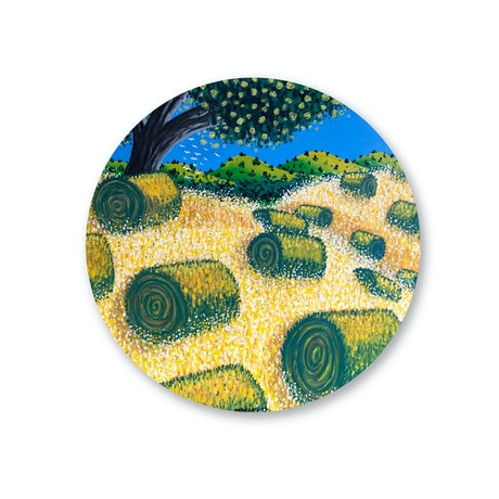 (CreativeWork) Hay Bales (2019) by Mike Adey. Acrylic. Shop online at Bluethumb.