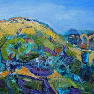 (CreativeWork) TUSCANY LANDSCAPE by Maureen Finck. oil-painting. Shop online at Bluethumb.