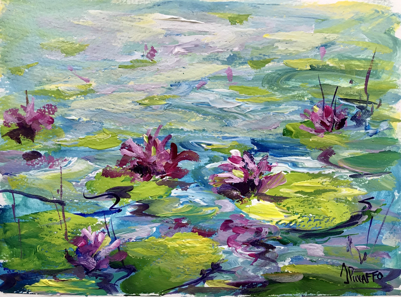 (CreativeWork) In the pond #1 by Ivana Pinaffo. arcylic-painting. Shop online at Bluethumb.