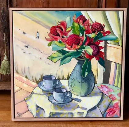 (CreativeWork) A Morning Walk (framed original) by kirsty mcintyre. Oil Paint. Shop online at Bluethumb.