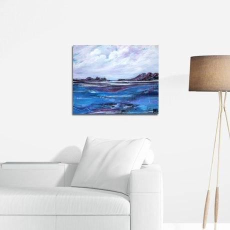 (CreativeWork) Blue Waters Edge by Tania Chanter. Mixed Media. Shop online at Bluethumb.