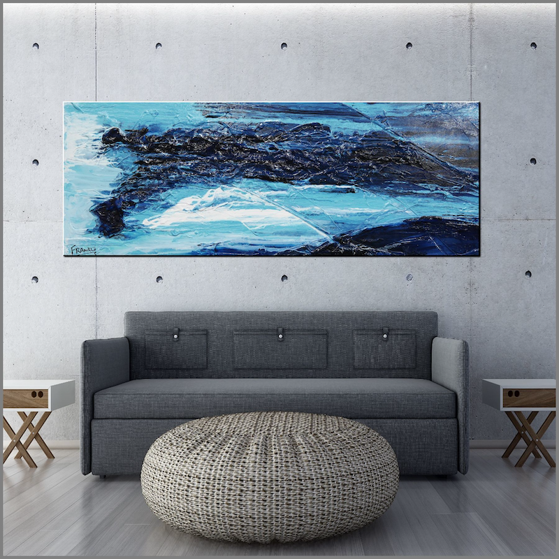 (CreativeWork) Required Blue  160cm x 60cm Navy Mid Blue White Textured Acrylic Abstract Gloss Finish FRANKO by _Franko _. acrylic-painting. Shop online at Bluethumb.