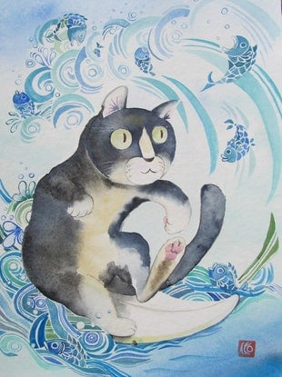(CreativeWork) Surfing Cat by Ikuko Maddox. Watercolour Paint. Shop online at Bluethumb.