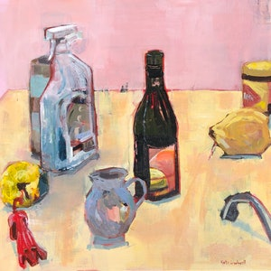 (CreativeWork) Still Life with Red Dog by Kate Gradwell. arcylic-painting. Shop online at Bluethumb.