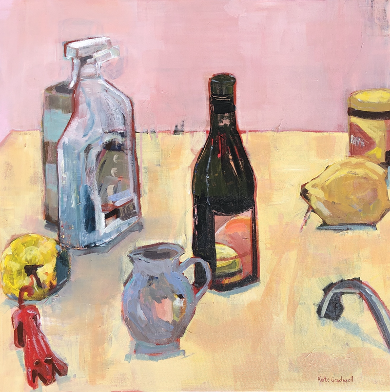 (CreativeWork) Still Life with Red Dog by Kate Gradwell. Acrylic Paint. Shop online at Bluethumb.