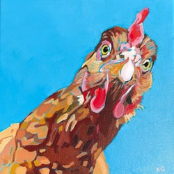 (CreativeWork) Chook by Kate Gradwell. Acrylic Paint. Shop online at Bluethumb.