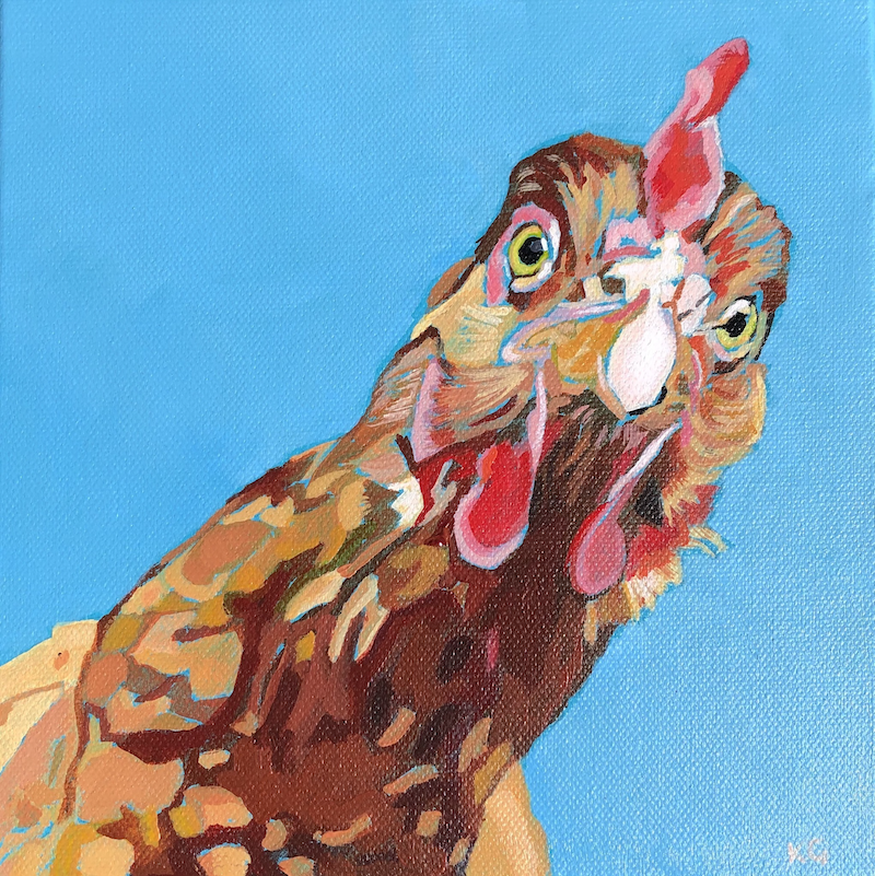 (CreativeWork) Chook by Kate Gradwell. acrylic-painting. Shop online at Bluethumb.