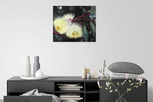 (CreativeWork) Flowering Gumnuts 2 by julie hollis. Acrylic Paint. Shop online at Bluethumb.