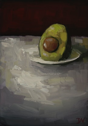 (CreativeWork) Avocado with plate.  by Damien Venditti. Oil Paint. Shop online at Bluethumb.