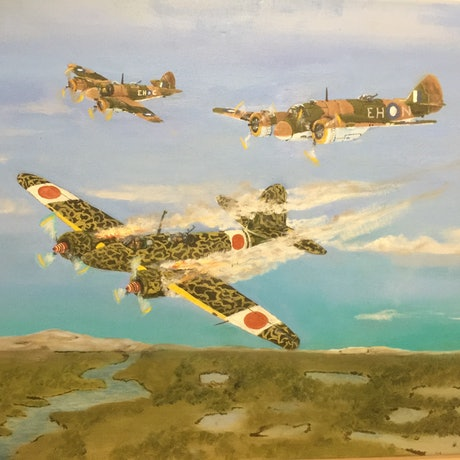 (CreativeWork) RAAF 31 Squadron Beaufighters in action over Timor. by John Albert Barnes. Oil Paint. Shop online at Bluethumb.