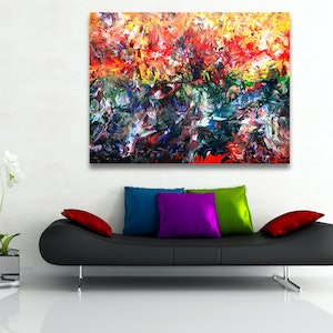 (CreativeWork) Climate Change Landscape by Estelle Asmodelle. arcylic-painting. Shop online at Bluethumb.