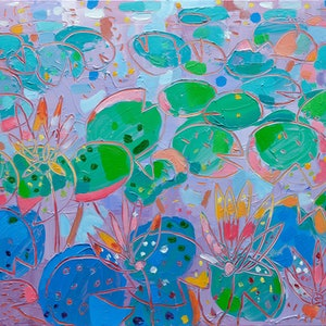 (CreativeWork) Tasman Lily Pond  No.8 by Joseph Villanueva. arcylic-painting. Shop online at Bluethumb.