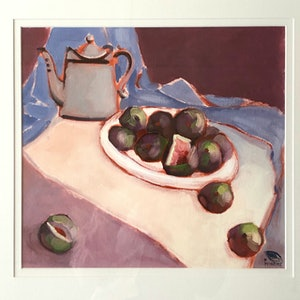 (CreativeWork) Coffee pot and figs- study (framed size 58x60 cm-original oil on paper) by kirsty mcintyre. oil-painting. Shop online at Bluethumb.