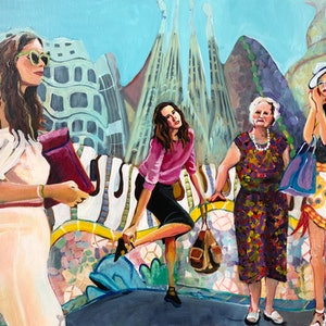 (CreativeWork) Barcelona Beauties  by Alison Pilcher. arcylic-painting. Shop online at Bluethumb.