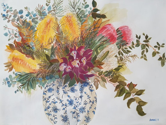(CreativeWork) Flowers for a rainy day by Amani Haydar. Acrylic Paint. Shop online at Bluethumb.