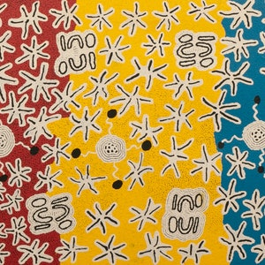 (CreativeWork) Janmarda 514-18 by Emily Andy Napaltjarri. acrylic-painting. Shop online at Bluethumb.