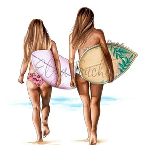(CreativeWork) Surfer friends by Elza Fouché. drawing. Shop online at Bluethumb.