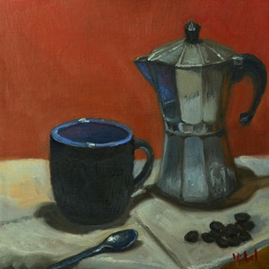 (CreativeWork) Cup of Coffee - Still life ready to hang by Christopher Vidal. oil-painting. Shop online at Bluethumb.