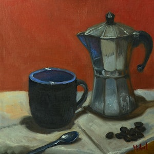 (CreativeWork) Cup of Coffee - Still life ready to hang by Christopher Vidal. #<Filter:0x00007f44389a06b8>. Shop online at Bluethumb.
