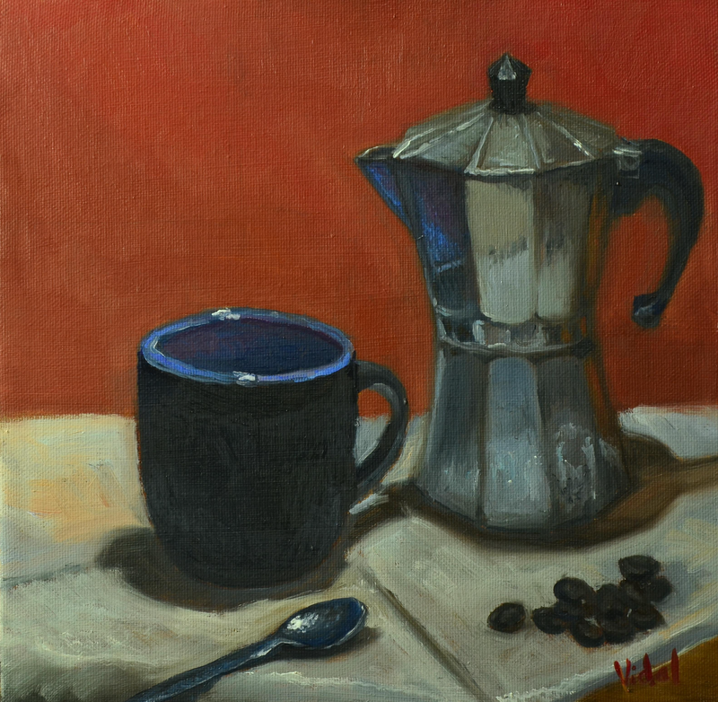 (CreativeWork) Cup of Coffee - Still life ready to hang by Christopher Vidal. #<Filter:0x00007f3df4b8b170>. Shop online at Bluethumb.