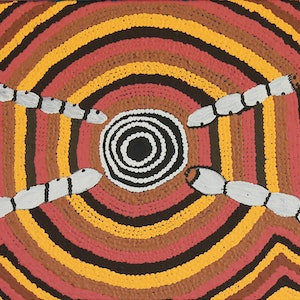 (CreativeWork) Maku Tjukurrpa (Witchetty Grub Dreaming) by Alice Napangardi Poulson. arcylic-painting. Shop online at Bluethumb.