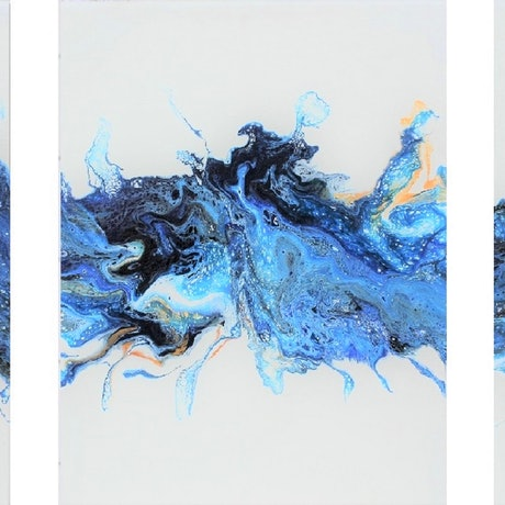 (CreativeWork) Seahorses Playground - Triptych by Tina Dawes. Acrylic Paint. Shop online at Bluethumb.