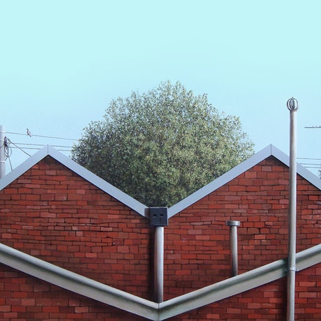 (CreativeWork) Backyard View by David Kaneen. Acrylic Paint. Shop online at Bluethumb.