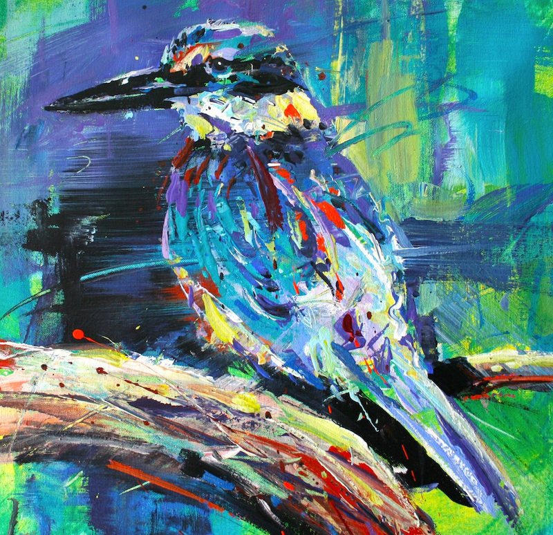 (CreativeWork) Kingfisher 3 by Jos Coufreur. Acrylic Paint. Shop online at Bluethumb.