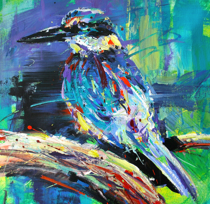 (CreativeWork) Kingfisher 3 by Jos Coufreur. acrylic-painting. Shop online at Bluethumb.