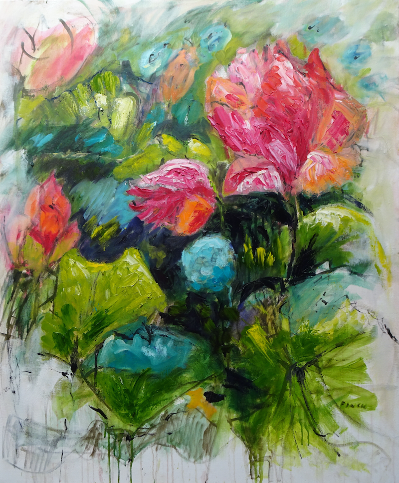 (CreativeWork) LOTUS FLOWERS,  ADELAIDE BOTANIC GARDENS by Maureen Finck. oil-painting. Shop online at Bluethumb.